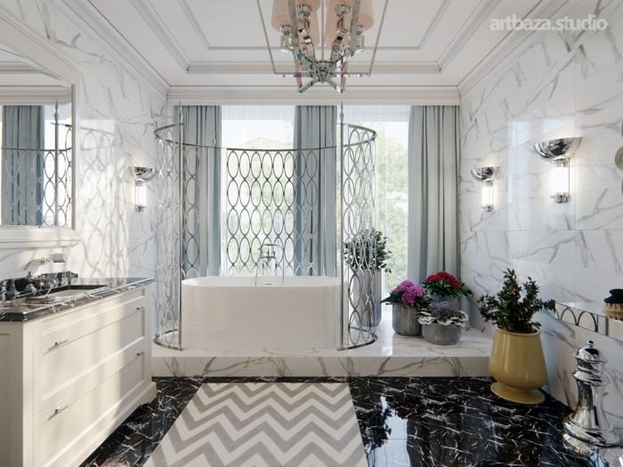 parquet ceramico suelo de baldosas de color negro con detalles de color beige, ventanas grandes con cortinas