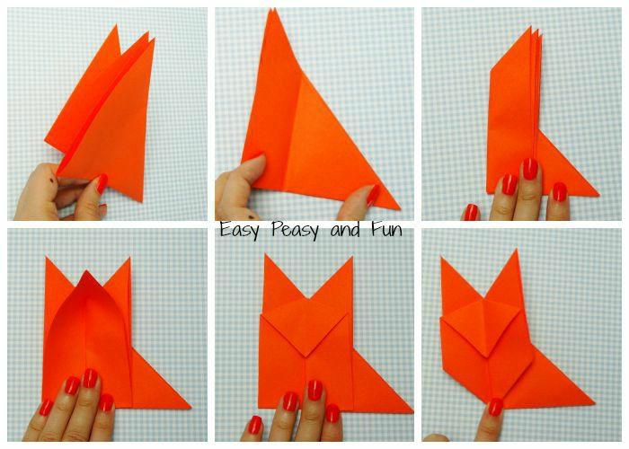 bontias ideas de manualidades para niños con tutoriales, zorro DIY hecho con papel super fácil de hacer