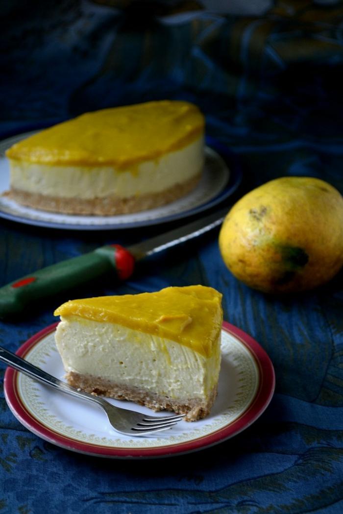 tarta casera con crema mascarpone y glaseado de limon, postres faciles y rapidos sin horno