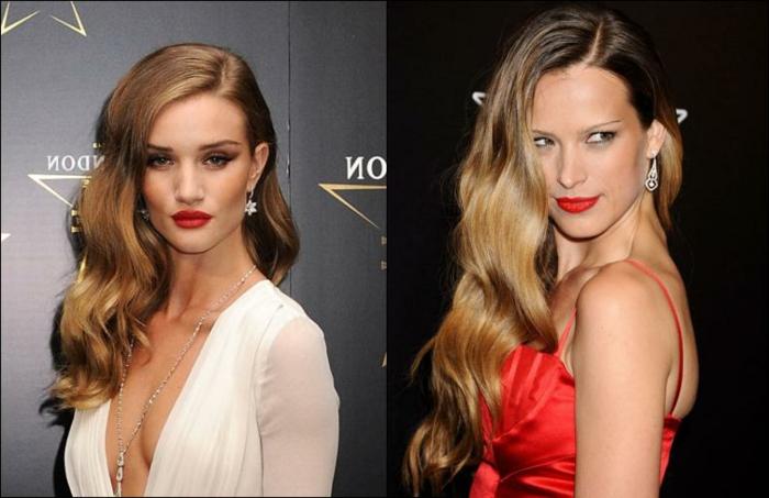 peinados con ondas, dos modelos con las melenas largas con ondulaciones rubias y con labial rojo