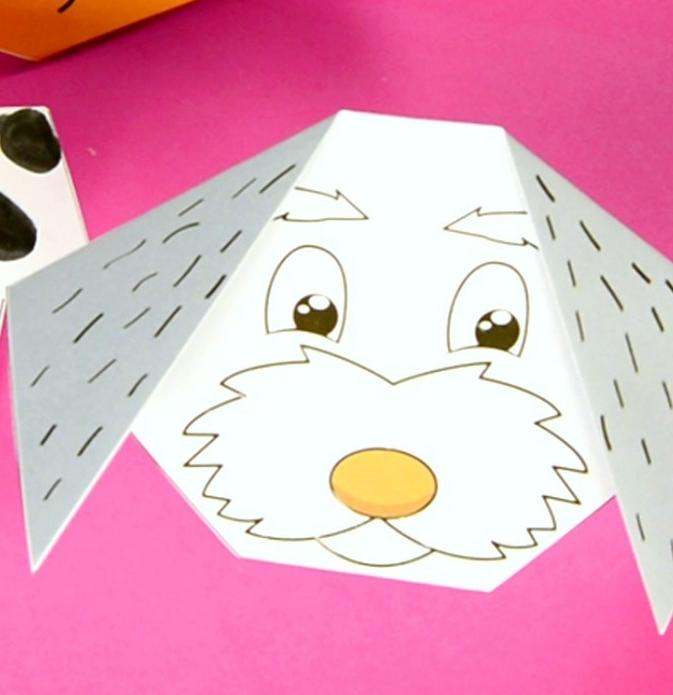manualidades para niños super fáciles de hacer, figuras de papel DIY paso a paso, perros de papel