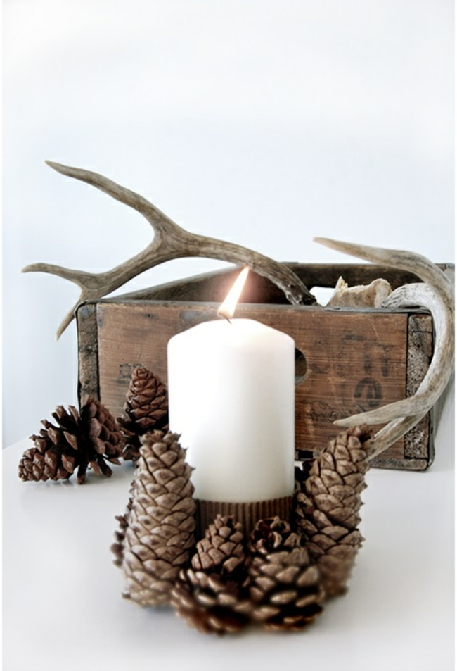 preciosas ideas de manualidades otoño para decorar la casa, decoración con piñas de encanto