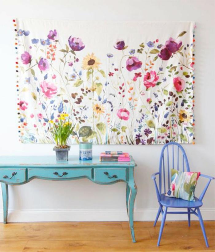 bonitas ideas para decorar la casa, trabajos manuales desde casa, tela dibujada en flores