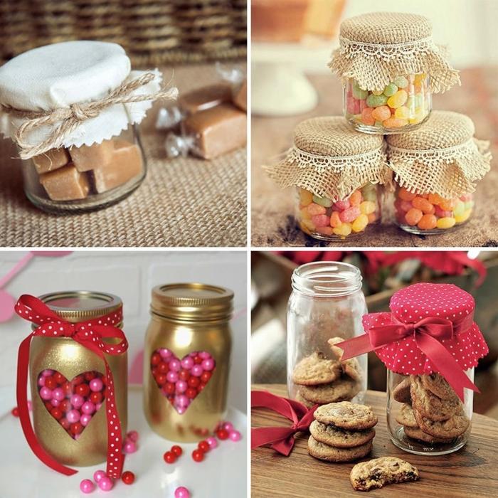 que le puedo regalar a mi mejor amiga, ideas con botes con diferentes dulces y caramelos dentro decorados