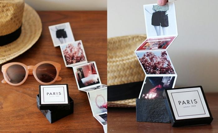 que le puedo regalar a mi mejor amiga, pequeño album con fotos en una caja con incsripción Paris