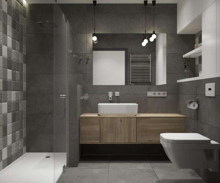precioso baño decorado en gris con cabina de ducha, azulejos de diseño, lavabo en blanco