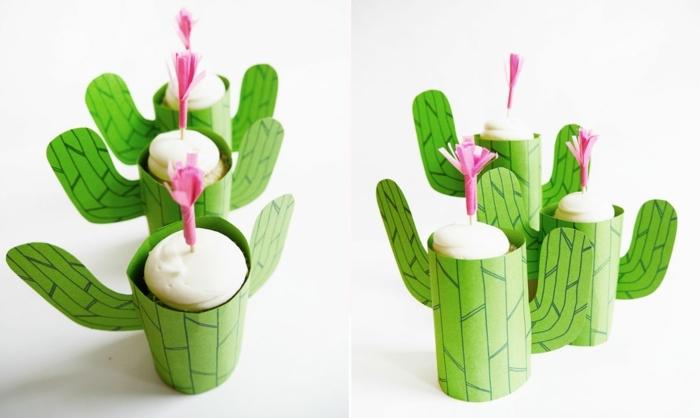 regalos caseros para amigas, dulces macarrones con palo clavado en ellos decorado con cáctus hecho de papel