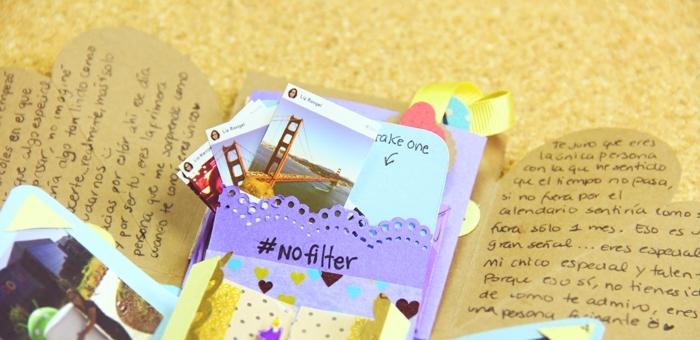 regalos originales para amigas, álbum de fotos, scarpbooking decorado con hojas y cartones de colores