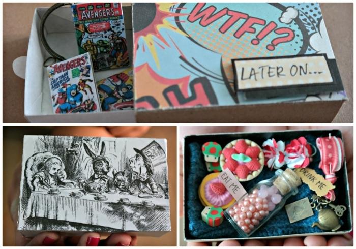 regalos para mejores amigas, caja con cosas de Alisa en el país de las maravillas, dibujos animados para regalo