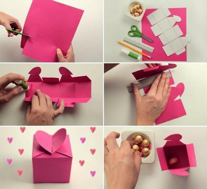 que regalarle a tu mejor amiga, caja hecha de cartón en color rosa, con los pasos de cómo hacerlo y los materiales