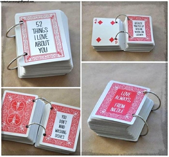 sorpresas de cumpleaños para amigas, baraja de cartas con pensamientos en cada una de ellas y anillas de metal