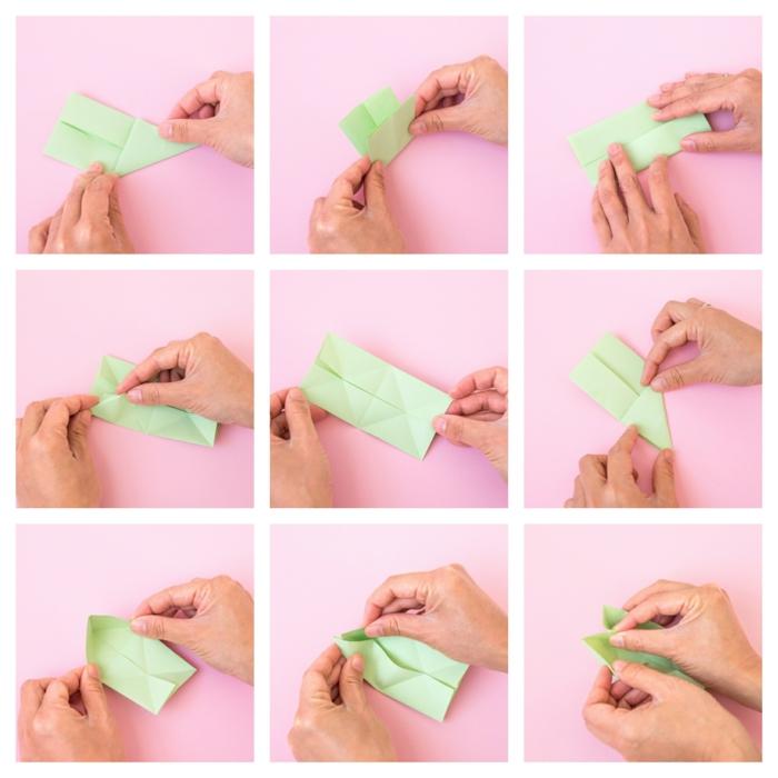 sorpresas de cumpleaños para amigas, pasos para hacer el origami de cactus para el marco