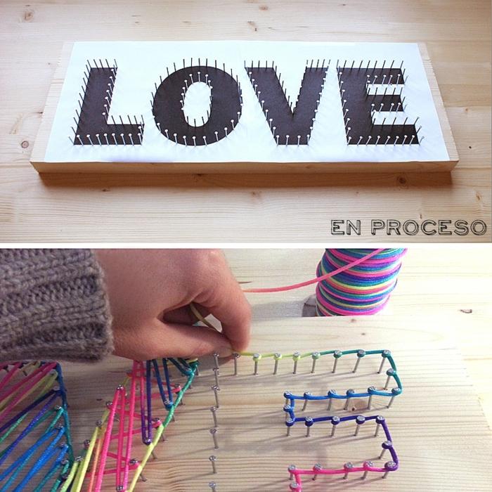 sorpresas de cumpleaños para amigas, tablero de madera con decoración de clavos e hilos de colores, Love, amor