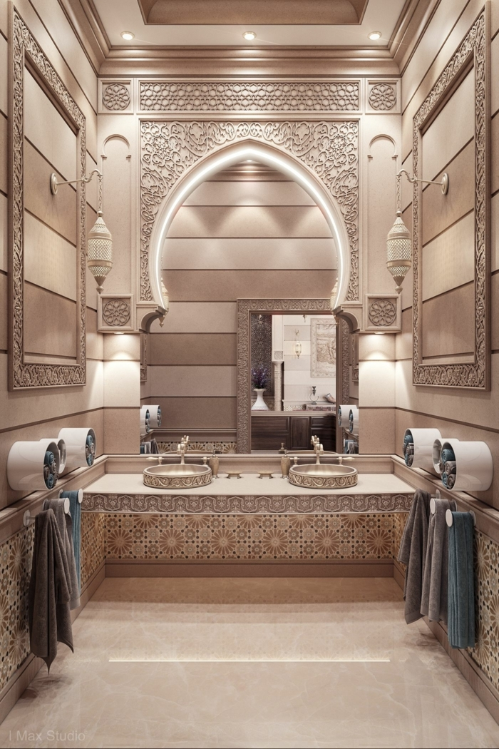 suelo hidraulico imitacion, suelo de color beige, baño elegante con estilo oriental decorado