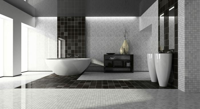 suelo hidraulico imitacion, suelo con baldoss de cuadros pequeños en color gris y baldosas negras cuadrdas