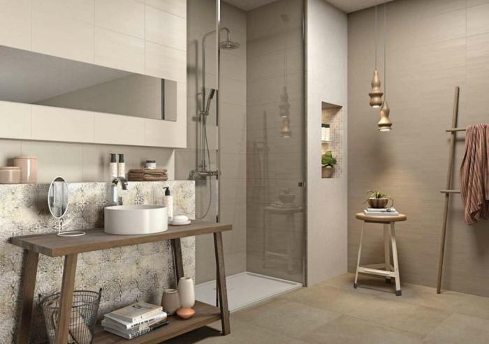 suelos ceramicos precios, baño de colores tierra, con espejo rectangular, mampara de vidrio