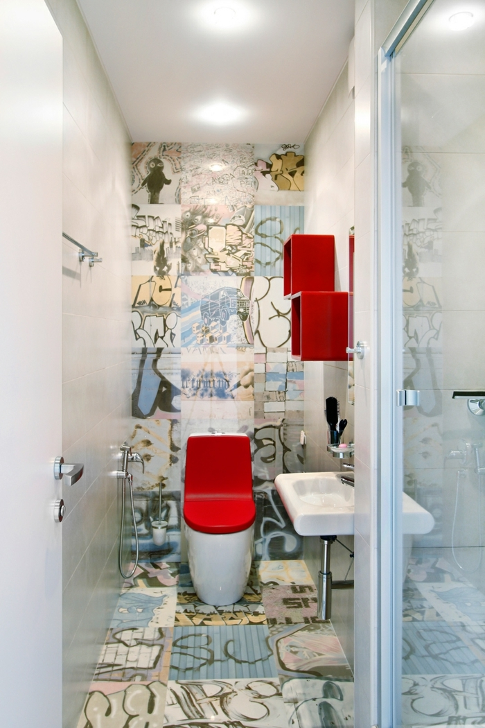 suelos ceramicos precios, baño con azulejos de graffiti, pequeño con estanterias de cuadros rojos