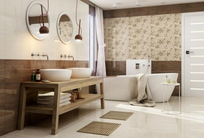 suelos porcelanicos precios , suelo de color beige con espejos redondos y lamparas colgantes