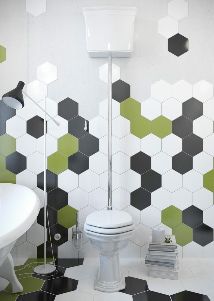 suelos porcelanicos precios, azulejos hexagonales de color blanco, negro y verde, libros en el suelo