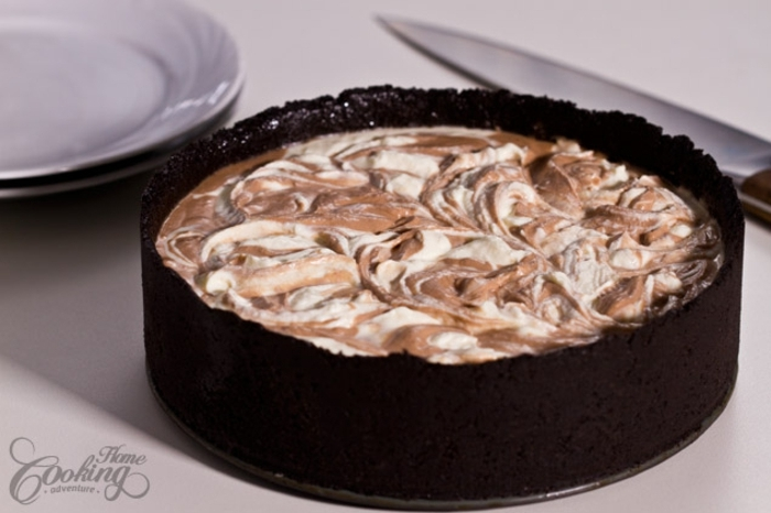 tarta de queso mascarpone, crema de chocolate y base de galletas de chocolate paso a paso