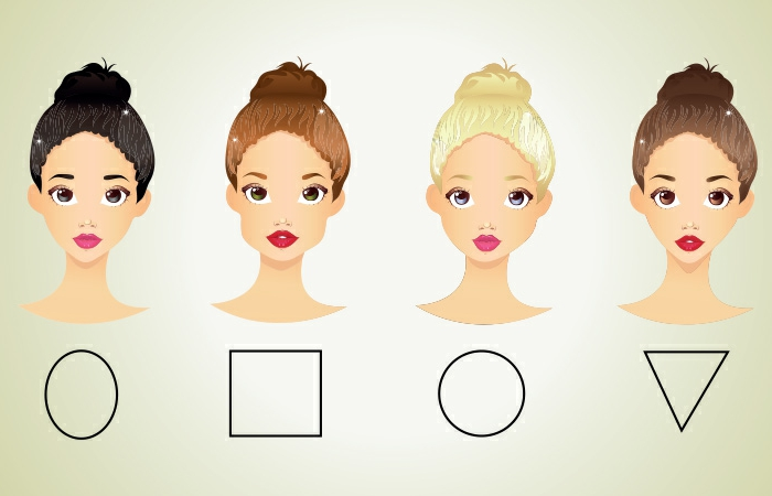 cortes de pelo mujer segun rostro, las cuatro formas básicas en dibujos, cara ovalada, cuadrada, redonda y triangular