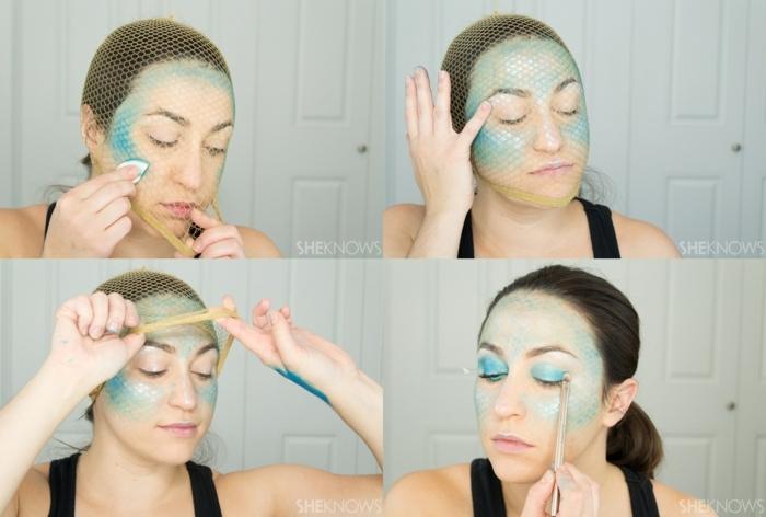 ideas originales para hacer maquillaje para halloween facil paso a paso, maquillaje Sirena mujer