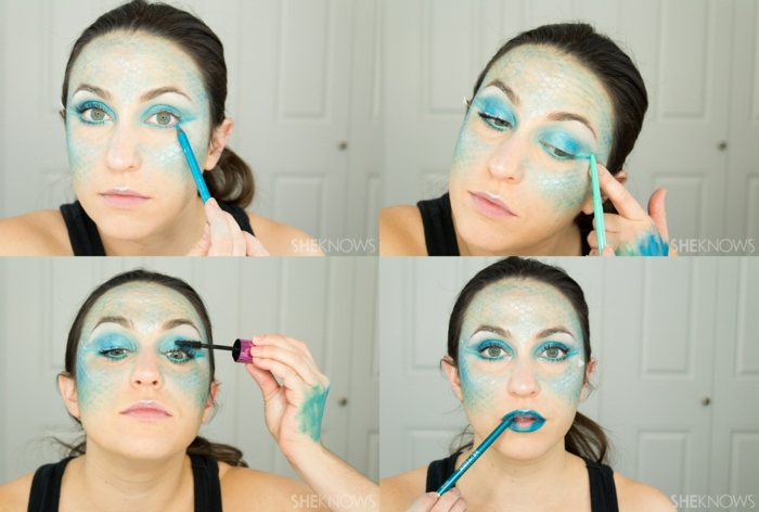 ideas para hacer un maquillaje para halloween fácil y muy atractivo, cara pintada de sirena en azul