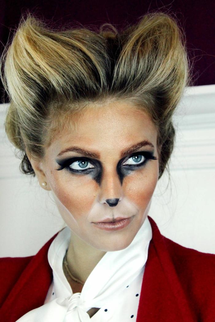cara pintada de gato o zorro, ideas originales de maquillaje y disfraces para las fiestas de Halloween