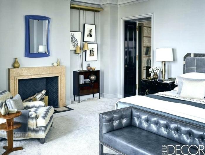 salón moderno decorado en colores fríos, bonitas ideas sobre como decorar una chimenea en imágines