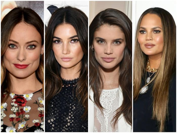 cuatro propuestas de cortes de pelo largo para cara cuadrada, ideas de cortes de pelo para mujer según el rostro