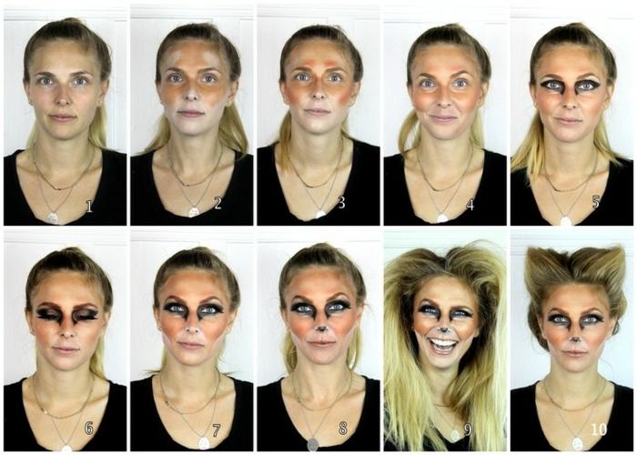 maquillaje halloween facil paso a paso, cara pintada en zorro paso a paso, tutoriales fáciles con imágines