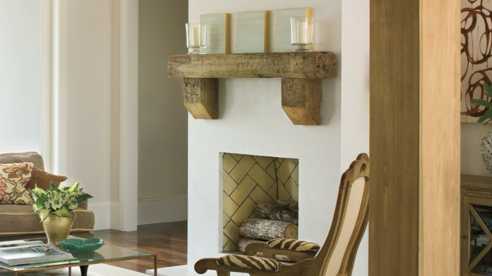 ambiente acogedor en colores terrestres, como decorar una chimenea en estilo rústico, decoración con vigas