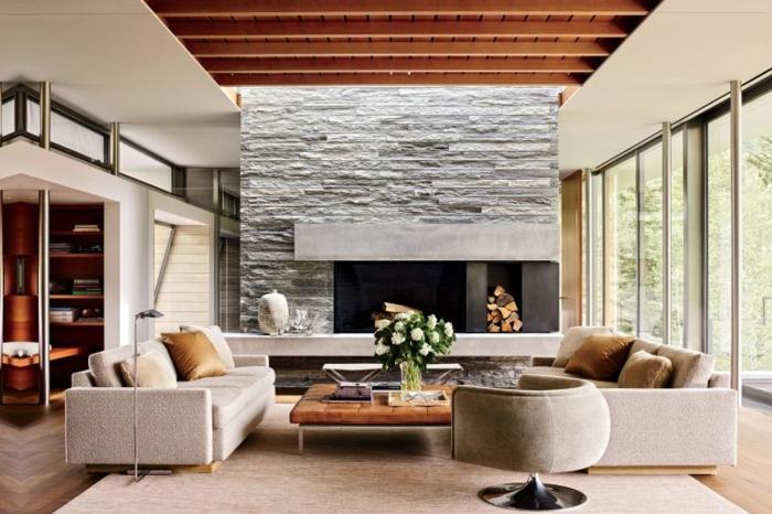 salones modernos con chimenea que enamoran, decoración en estilo contemporáneo, muebles de diseño y grandes ventanales