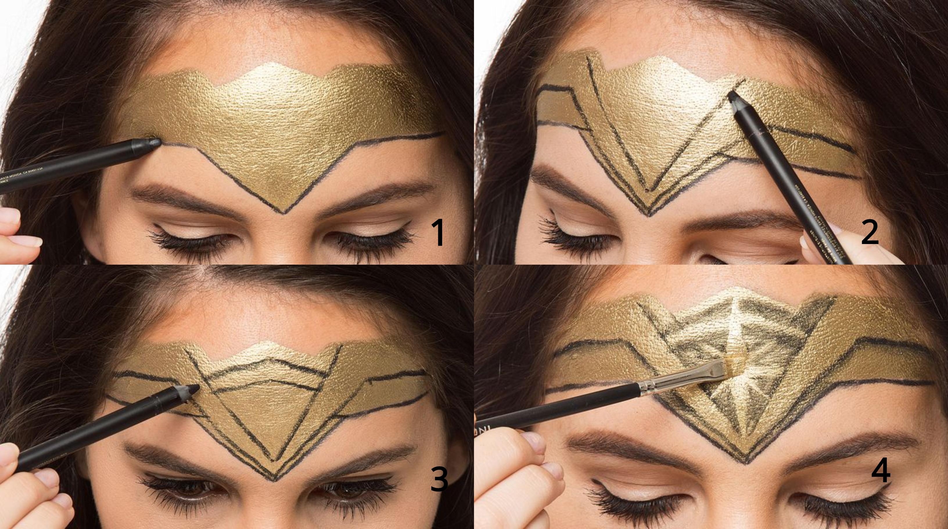 pasos para pintar la cara de la Mujer maravilla, las mejores ideas de maquillaje de Halloween paso a paso