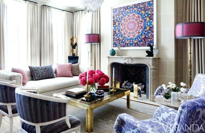 como decorar una chimenea de leña, precioso salón en estilo contemporáneo, muebles y detalles en azul y lila