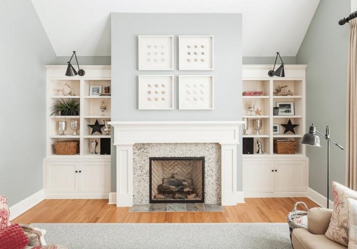 cómo decorar una chimenea de leña en un salón contemporáneo, decoración super original, paredes en gris claro