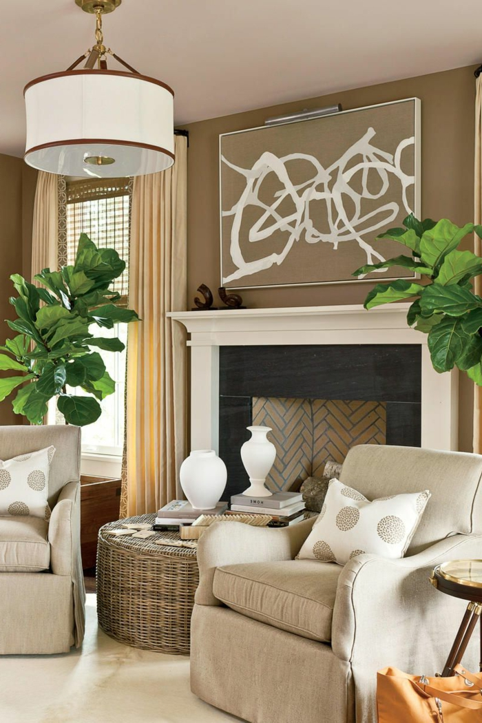 salones modernos con chimenea decorados en beige, preciosa decoración con plantas verdes