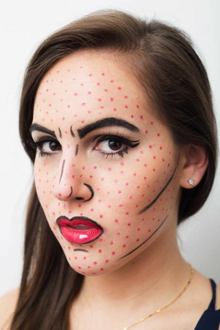 ideas de maquillaje de Halloween inspirado en el Pop Art, maquillaje bruja niña paso a paso