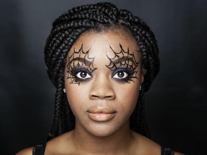 maquillaje para halloween fácil y original, telarañas en los ojos, bonitas ideas con tutoriales paso a paso
