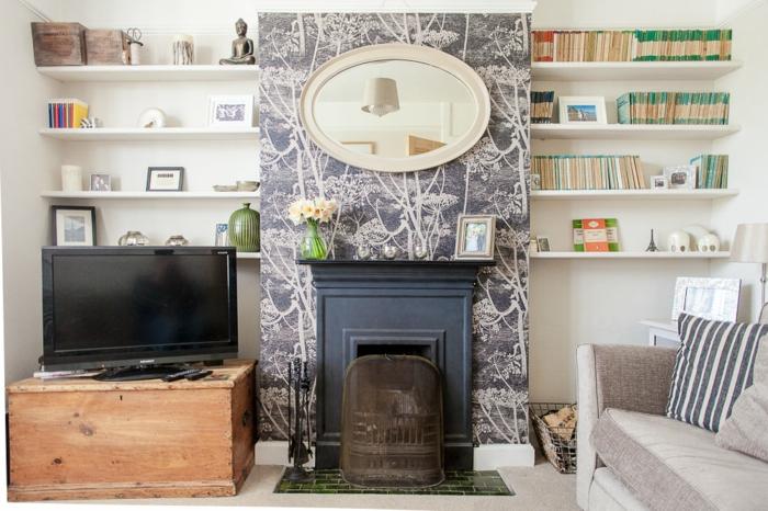 salones modernos con chimenea en imágines, decoración con papel pintado, espacios en estilo vintage