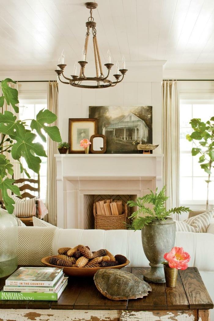 chimeneas rusticas de encanto, salón decorado en estilo rústico moderno, colores claros y plantas verdes