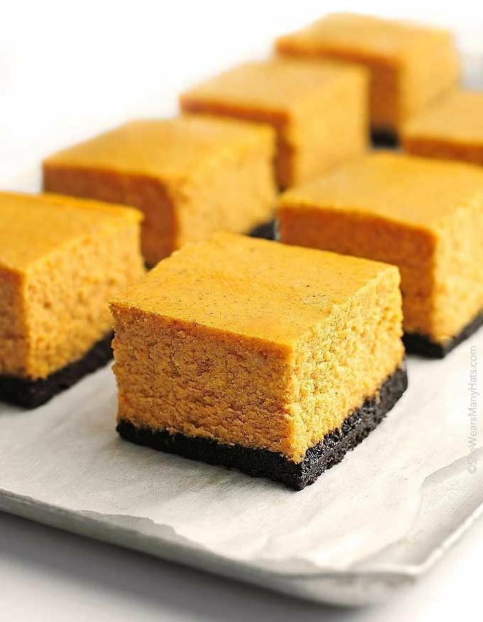 ideas originales de postres con calabaza, tartas de calabaza y chocolate, tarta de queso con calabaza y chocolate