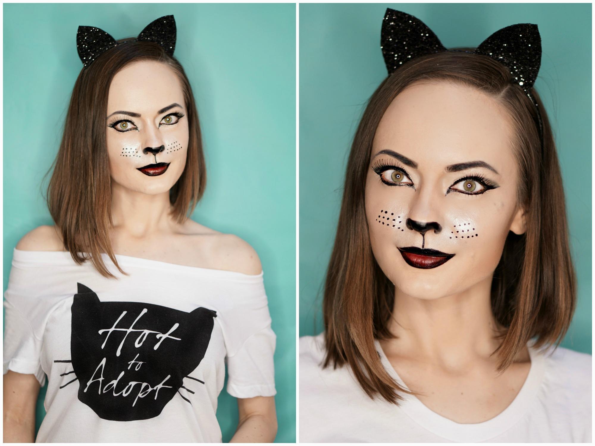como conseguir un maquillaje sexy y fatal para las fiestas de Halloween, cara pintada de gato paso a paso