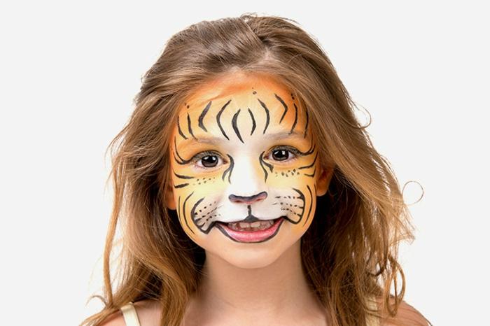 cara de tigre, maquillaje para halloween fácil para los niños, ideas originales y super fáciles de hacer