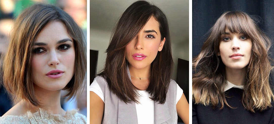 cortes de pelo para cara alargada, tres ejemplos de cortes de pelo que favorecen las caras de forma triangular