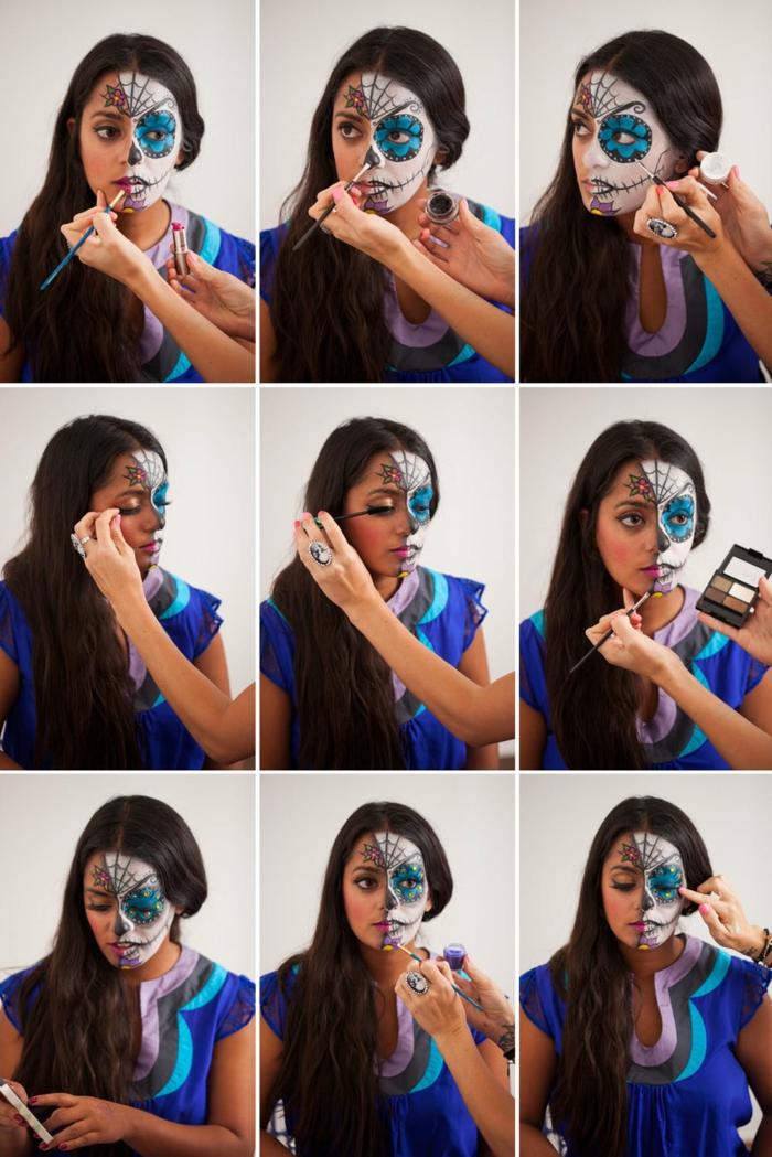 maquillaje de Halloween original y fácil para hacer en casa, pintar cara esqueleto paso a paso