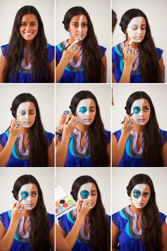 como pintar cara esqueleto paso a paso, tutoriales de maquillaje de Halloween fácil y rápido