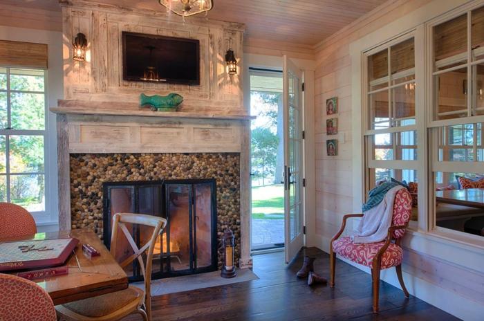 precioso salón decorado en estilo rústico moderno, chimeneas rusticas de leña, muebles en estilo vintage