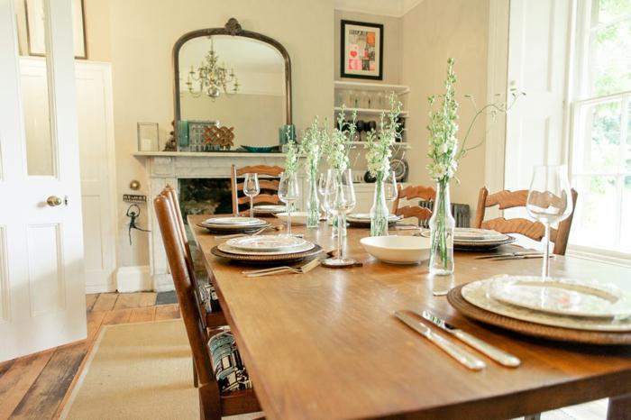 comedor decorado en estilo vintage, ideas de decoración de salones rusticos con chimenea
