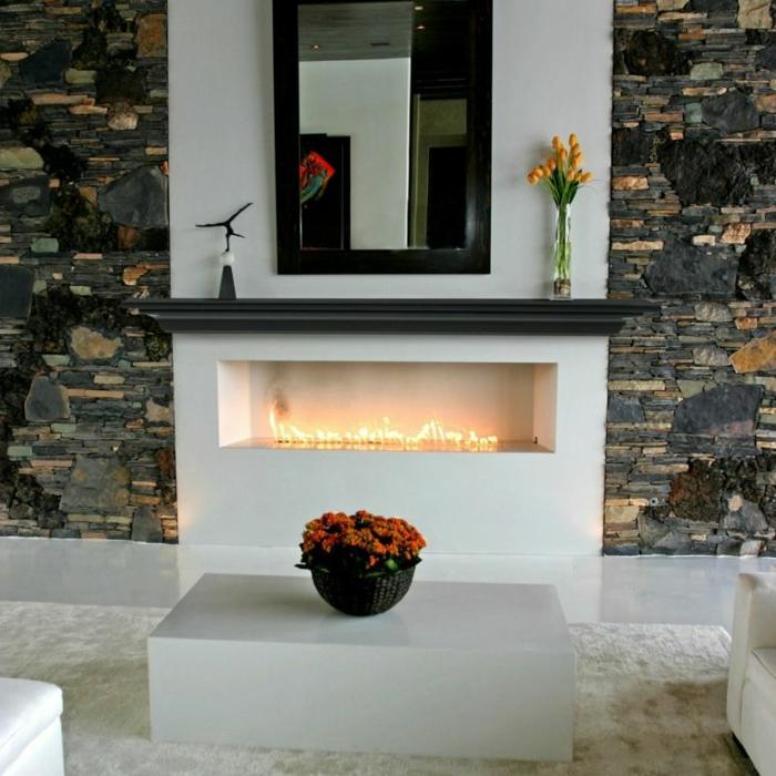 preciosas ideas de decoración, salón en estilo rústico moderno con decoración minimalista y paredes de piedra